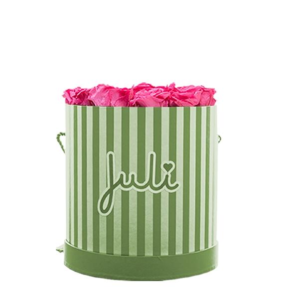 Rosenbox von Juli Flowers Infinity Rosen in Größe: pink Small grün/weiß rund - mindestens 1 bis 3 Jahre haltbare Rosen