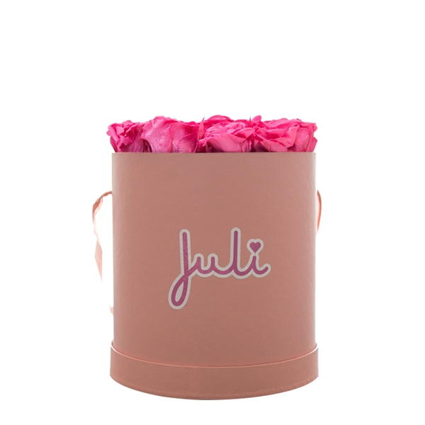 Rosenbox von Juli Flowers Infinity Rosen in Größe: pink Small rosa rund - mindestens 1 bis 3 Jahre haltbare Rosen