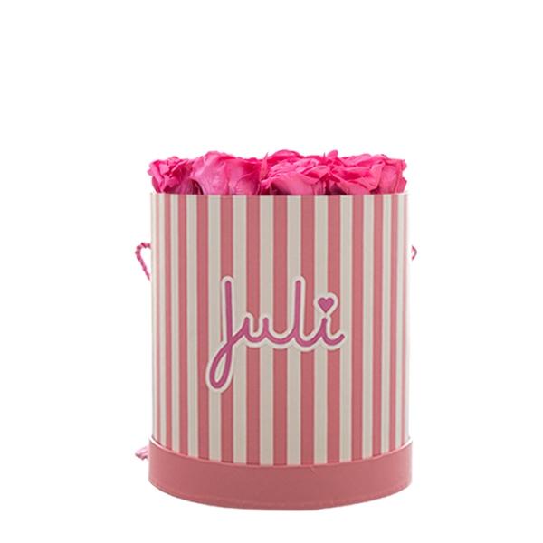 Rosenbox von Juli Flowers Infinity Rosen in Größe: pink Small rosa/weiß rund - mindestens 1 bis 3 Jahre haltbare Rosen