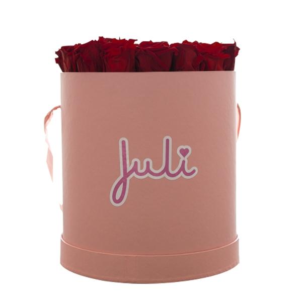 Rosenbox von Juli Flowers Infinity Rosen in Größe: dunkelrot Medium rosa rund - mindestens 1 bis 3 Jahre haltbare Rosen
