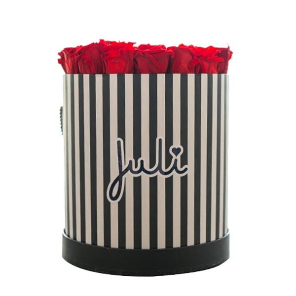 Rosenbox von Juli Flowers Infinity Rosen in Größe: rot Medium schwarz/weiß rund - mindestens 1 bis 3 Jahre haltbare Rosen